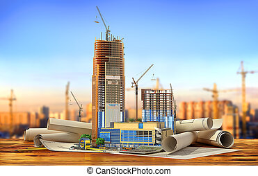 Construction concept. Skyscraper in process of construction on the blueprints. 3d illustration