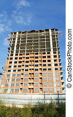 construction concept. the construction of a tall apartment building