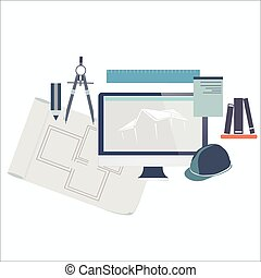 Construction concept, vector illustration of making house...