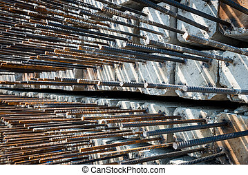 construction concrete stake with steel bar in storage