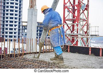 construction, concreter, ouvrier