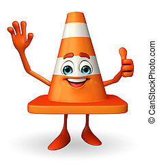 Construction Cone Character with best sign - Cartoon...