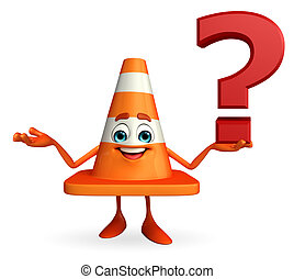 Construction Cone Character with question mark sign -...