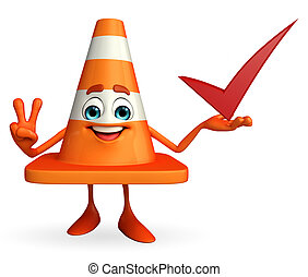 Cartoon Character of Construction cone with right sign