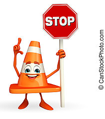 Construction Cone Character with stop sign - Cartoon...