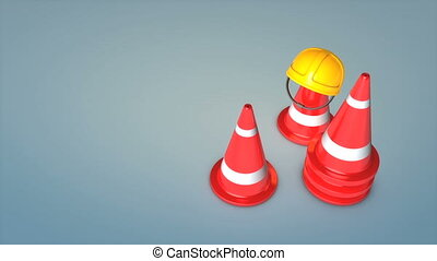 Construction cones and safety hat.