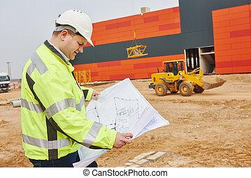 construction, constructeur, ingénieur, à, site
