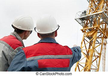construction, constructeurs, site, deux