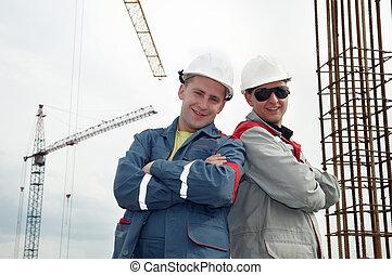 construction, constructeurs, site, heureux