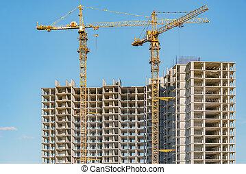 construction, construction., vue, logement, site