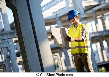 construction, contremaître, travail, site