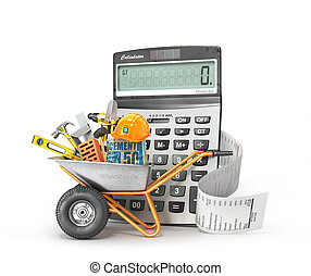 Construction costs concept. Construction tools in the...