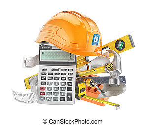 Construction costs concept. Construction tools near calculator with a check isolated on a white. 3d illustration
