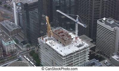 construction, coup, cranes., timelapse