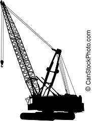 Construction crane 1 vector - Silhouette of construction...