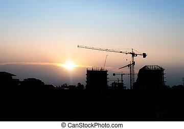 Construction crane and construction site.