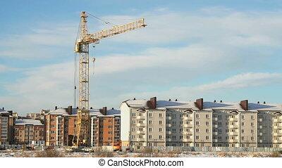 Construction crane at construction site - Construction crane...