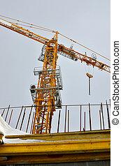 construction crane building a house