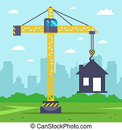 construction crane builds a country house.