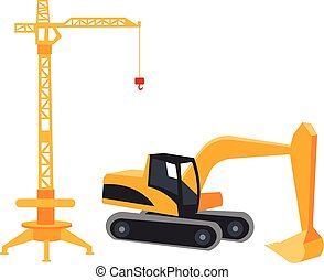 Construction crane in a flat style.