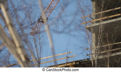 Construction crane in operation
