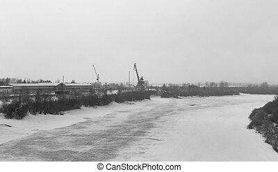 construction crane in winter
