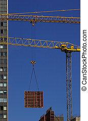 Construction crane lifting