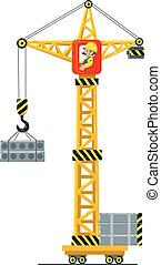 Construction crane lifts the load