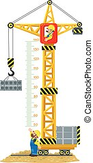 Meter wall or height meter of Construction crane drived by funny man worker lifts the cargo. Another worker looks up and waves Children vector illustration with a scale to measure growth. Height chart