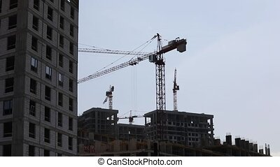 Construction Crane Moves Cargo - Quick motion of ...