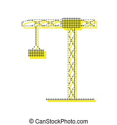 Construction crane sign. Vector. Yellow icon with square pattern