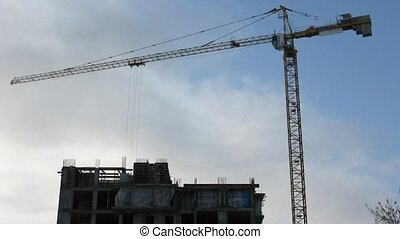 construction crane, time lapse - Construction crane, time...