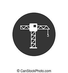 Construction Crane White Icon Vector Illustration
