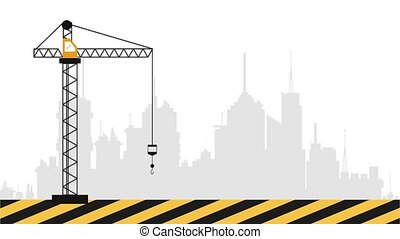 Construction crane with hook HD definition - Construction...