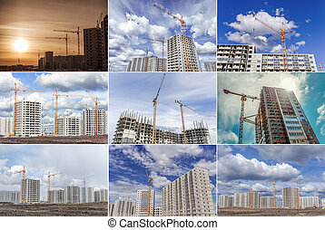 Construction cranes and building site