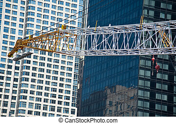 Construction cranes at World Trade Center site -...