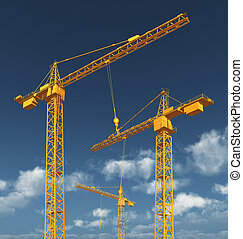 Construction cranes - Computer generated 3D illustration...