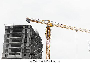 construction cranes construction of houses