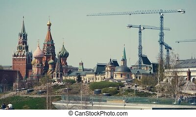 Construction cranes near the Moscow Kremlin