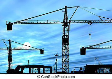 Cranes on construction site silhouetted against blue sunset, sky added in photoshop