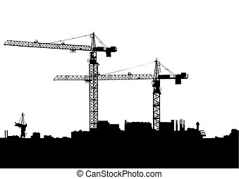Construction Cranes two