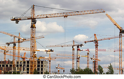 Construction cranes work