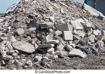 construction, débris, béton, site