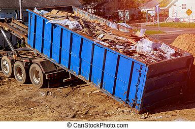construction, débris, déchets, béton, rocher, rempli, rubble., industriel, récipient, casier, bleu