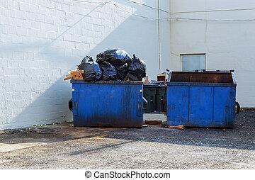 construction, débris, déchets, briques, matériel, maison, gaspillage, entiers, démoli