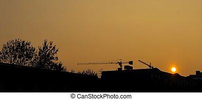 construction, de, les, coucher soleil, -, silhouette
