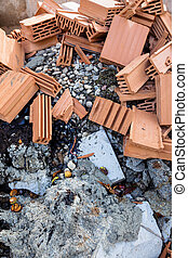 construction debris at a construction site
