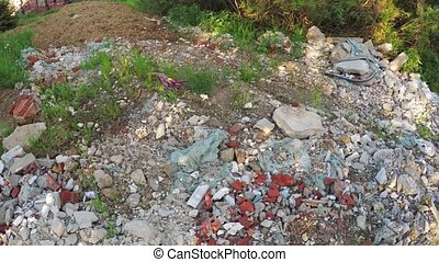 Construction debris off the road - Dynamic panorama over...
