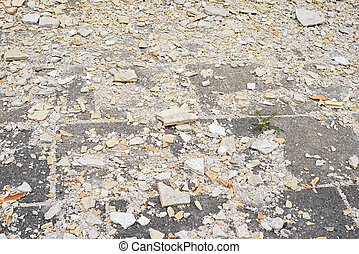 Construction debris on the pavement