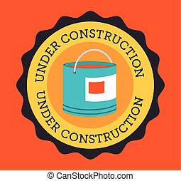 Construction design over orange background vector illustration